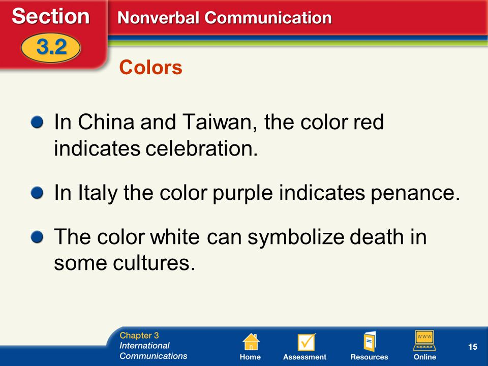 15 Colors In China and Taiwan, the color red indicates celebration.