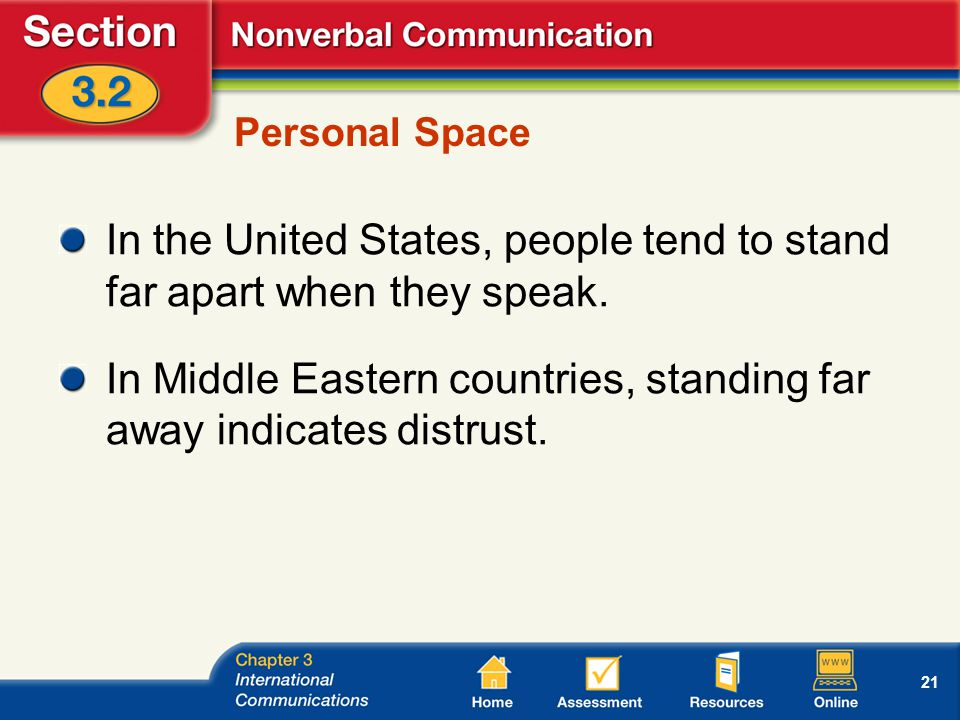 21 Personal Space In the United States, people tend to stand far apart when they speak.