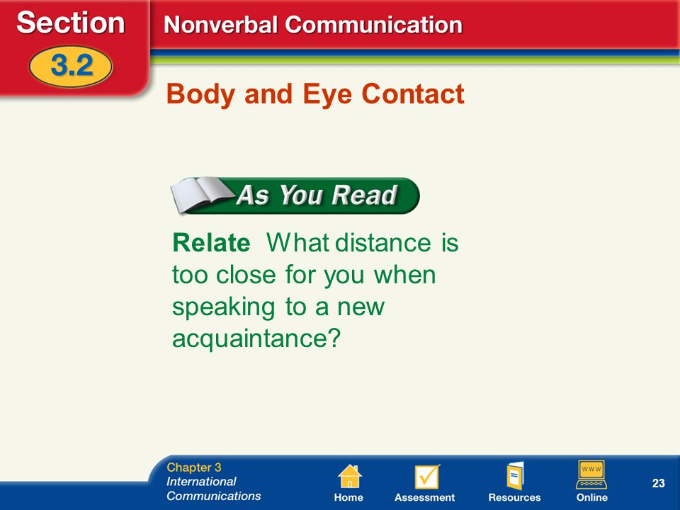 23 Body and Eye Contact Relate What distance is too close for you when speaking to a new acquaintance?