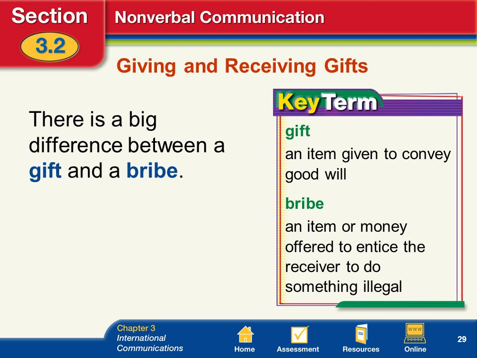29 Giving and Receiving Gifts There is a big difference between a gift and a bribe.