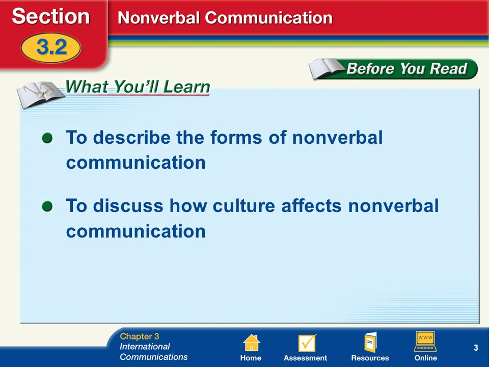 3 To describe the forms of nonverbal communication To discuss how culture affects nonverbal communication