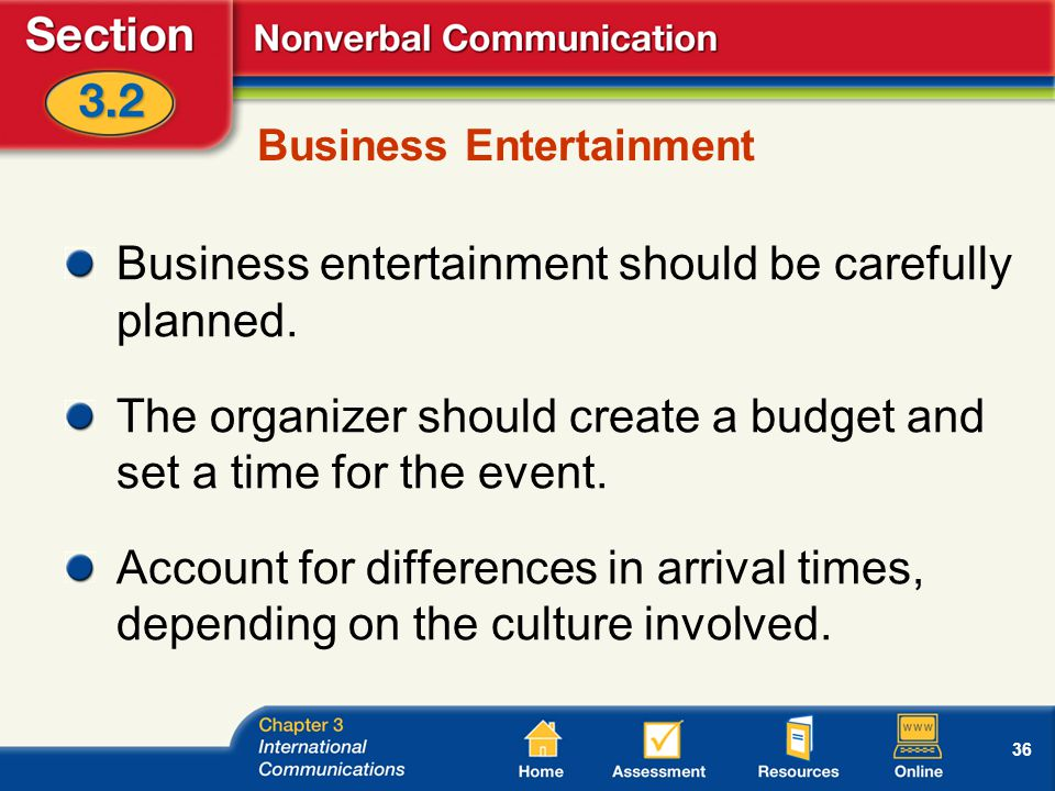 36 Business Entertainment Business entertainment should be carefully planned.