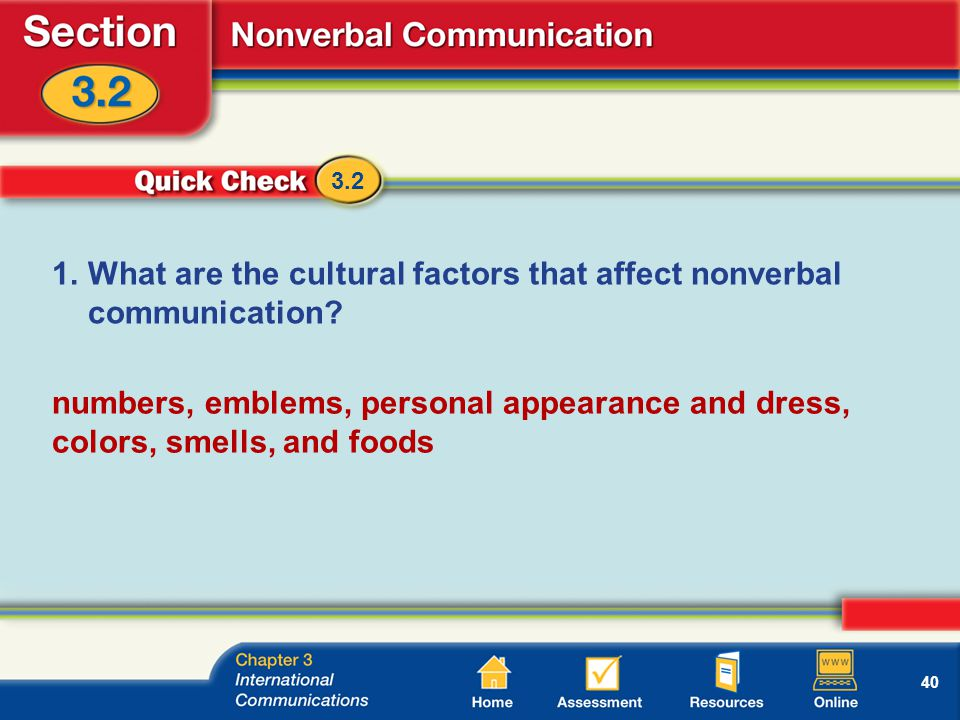 40 3.2 1.What are the cultural factors that affect nonverbal communication.