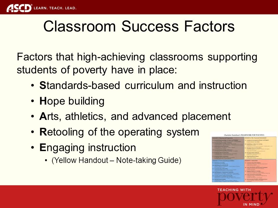 Classroom Success Factors Factors that high-achieving classrooms supporting students of poverty have in place: Standards-based curriculum and instruction Hope building Arts, athletics, and advanced placement Retooling of the operating system Engaging instruction (Yellow Handout – Note-taking Guide)