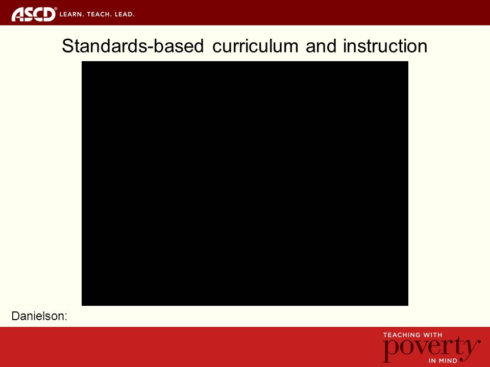 Standards-based curriculum and instruction Danielson: