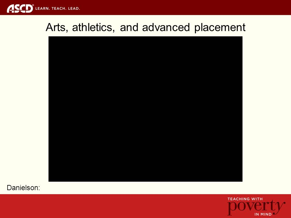 Arts, athletics, and advanced placement Danielson: