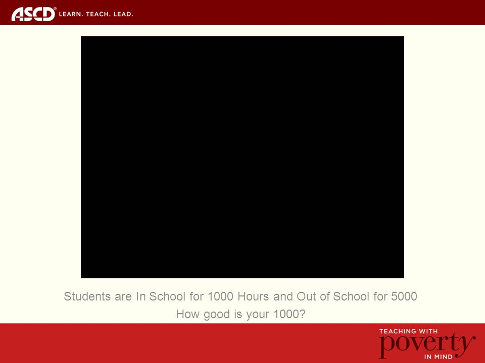 Students are In School for 1000 Hours and Out of School for 5000 How good is your 1000