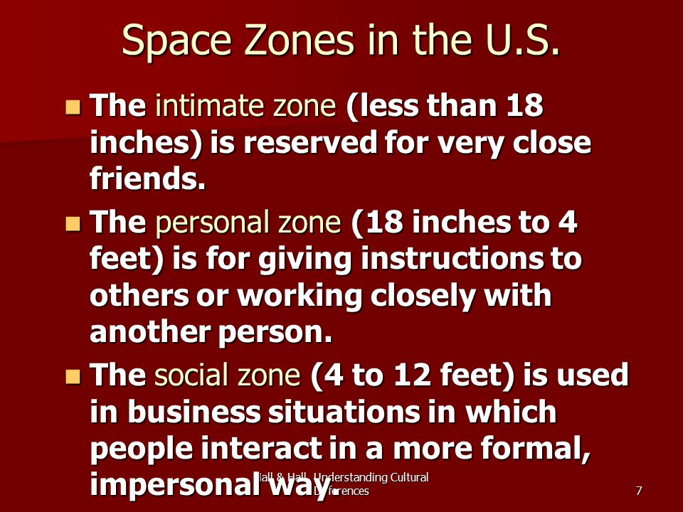 Hall & Hall, Understanding Cultural Differences7 Space Zones in the U.S.