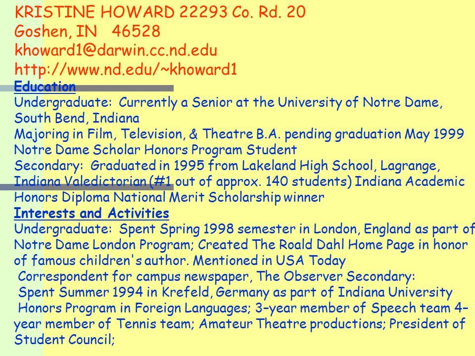 KRISTINE HOWARD 22293 Co. Rd.