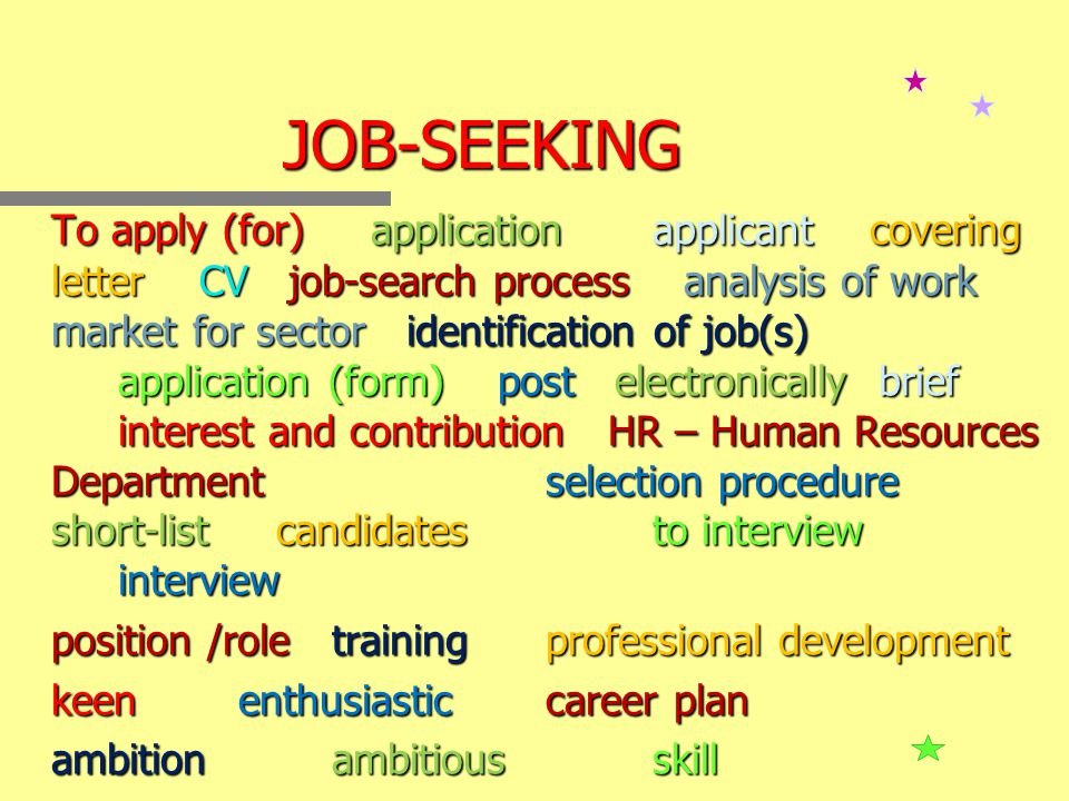 JOB-SEEKING To apply (for) applicationapplicant covering letter CV CV job-search process analysis of work market for sector sector identification of job(s) application (form) post post electronically electronically brief interest and contribution HR – Human Resources Department selection procedure short-list short-list candidatesto interview interview position /role training training professional development keen keen enthusiasticcareer plan ambitionambitiousskill