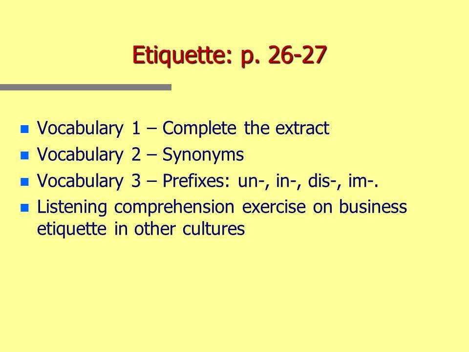 Etiquette: p.