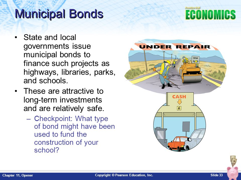 Copyright © Pearson Education, Inc.Slide 33 Chapter 11, Opener Municipal Bonds State and local governments issue municipal bonds to finance such proje