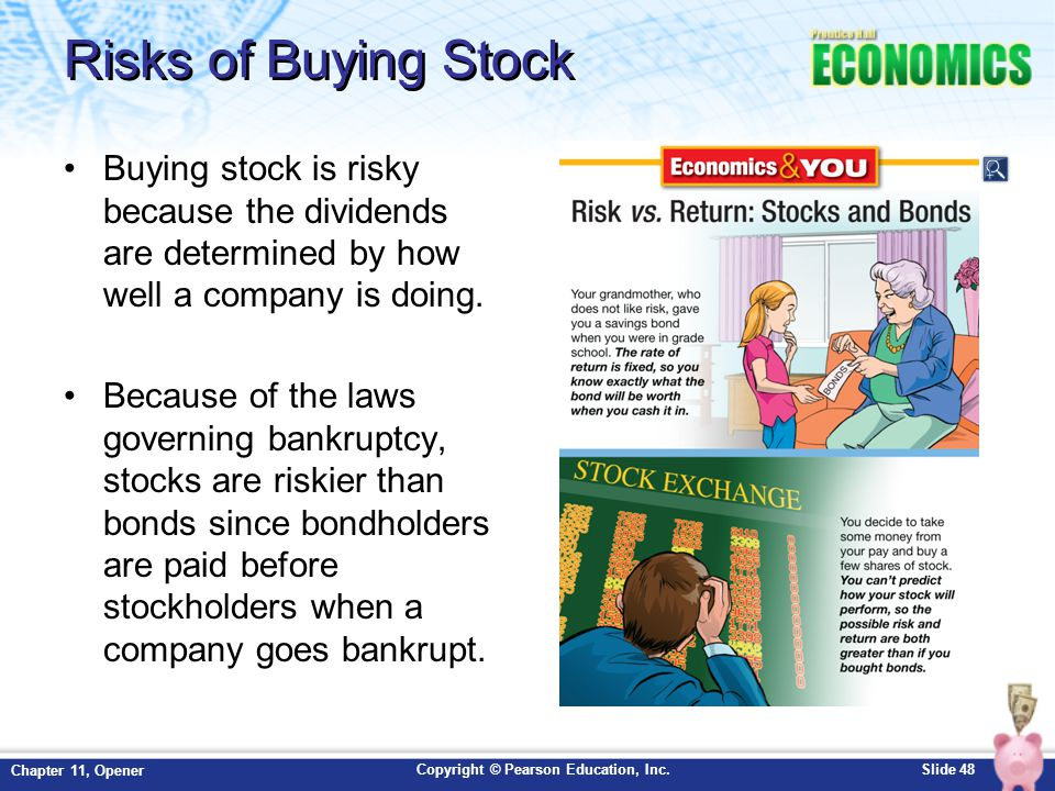 Copyright © Pearson Education, Inc.Slide 48 Chapter 11, Opener Risks of Buying Stock Buying stock is risky because the dividends are determined by how