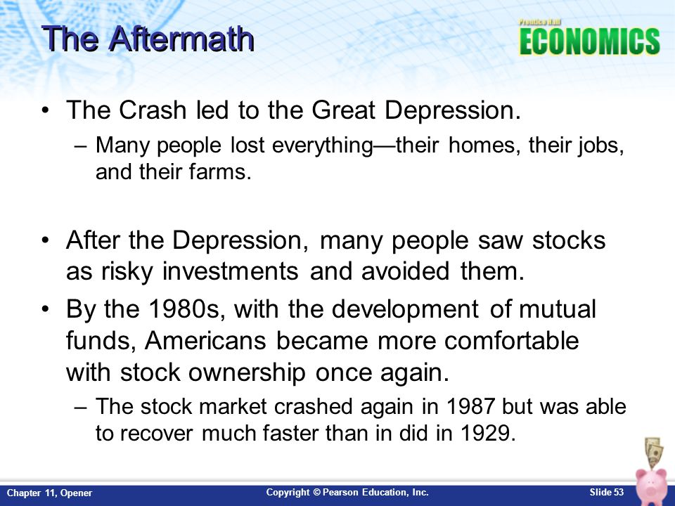 Copyright © Pearson Education, Inc.Slide 53 Chapter 11, Opener The Aftermath The Crash led to the Great Depression. –Many people lost everything—their
