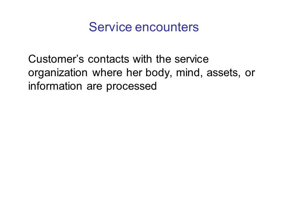 Service encounters Customer's contacts with the service organization where her body, mind, assets, or information are processed