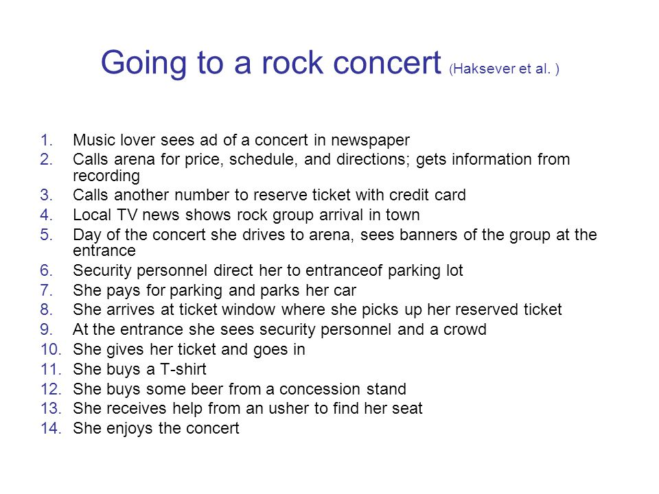 Going to a rock concert ( Haksever et al.