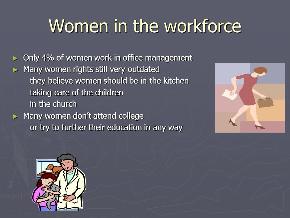 Women in the workforce ►O►O►O►Only 4% of women work in office management ►M►M►M►Many women rights still very outdated they believe women should be in