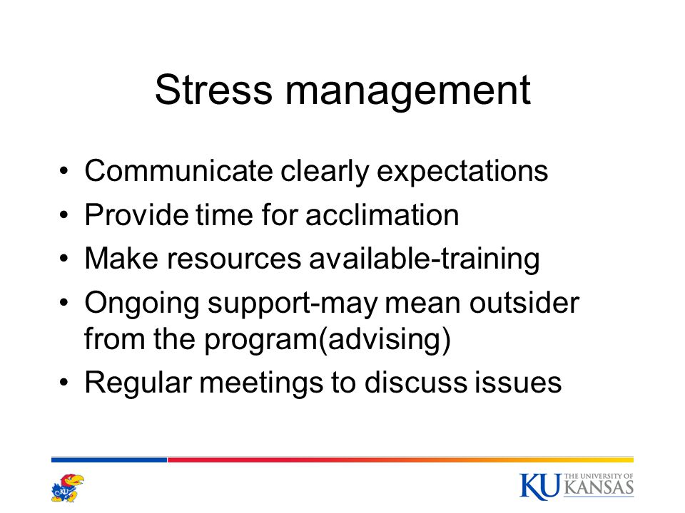 Stress management Communicate clearly expectations Provide time for acclimation Make resources available-training Ongoing support-may mean outsider from the program(advising) Regular meetings to discuss issues