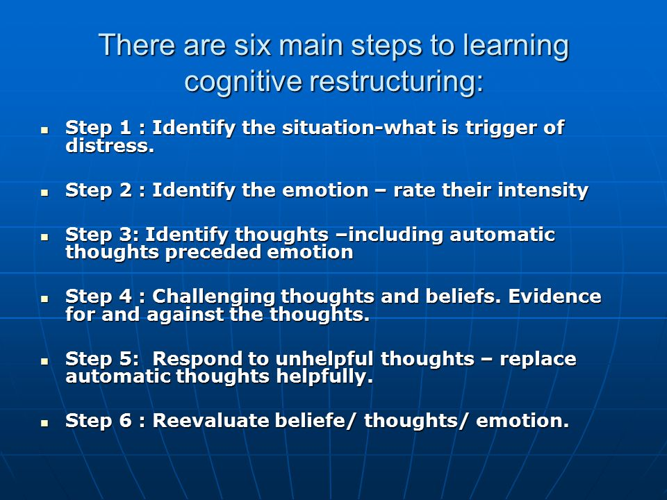 There are six main steps to learning cognitive restructuring: Step 1 : Identify the situation-what is trigger of distress.