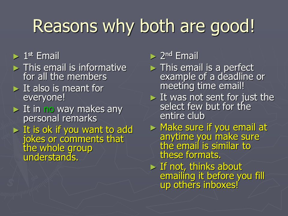 Examples of good emails Remember these emails are fake.