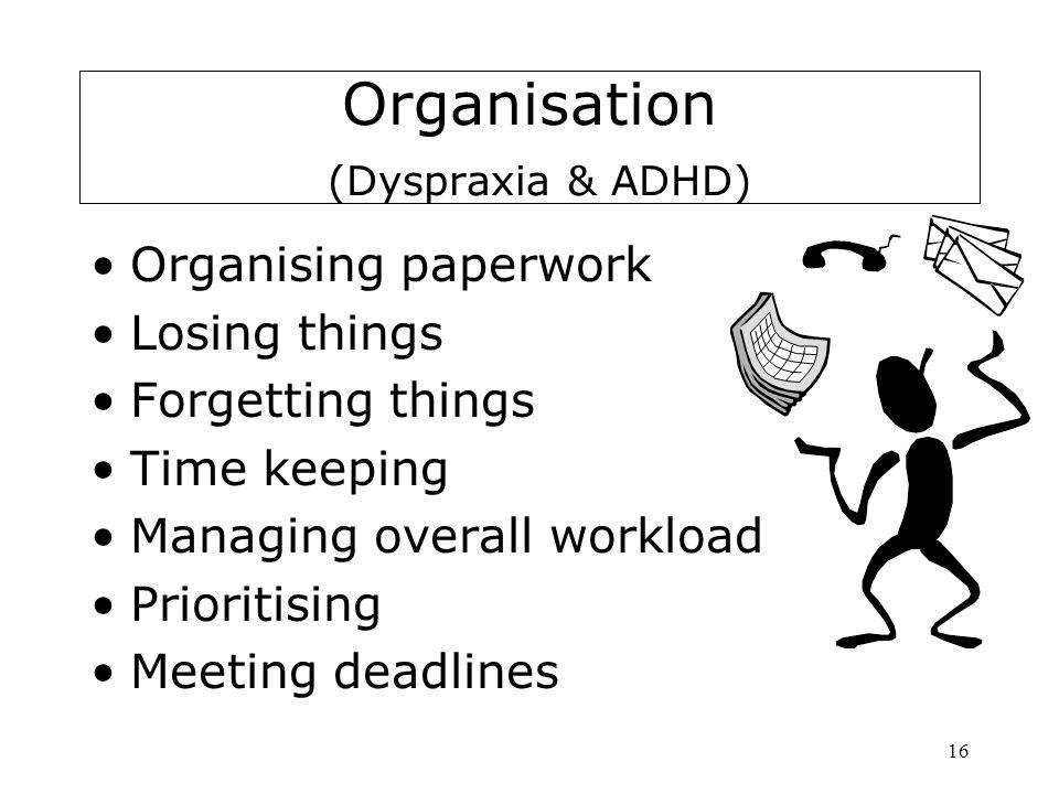 16 Organisation (Dyspraxia & ADHD) Organising paperwork Losing things Forgetting things Time keeping Managing overall workload Prioritising Meeting de