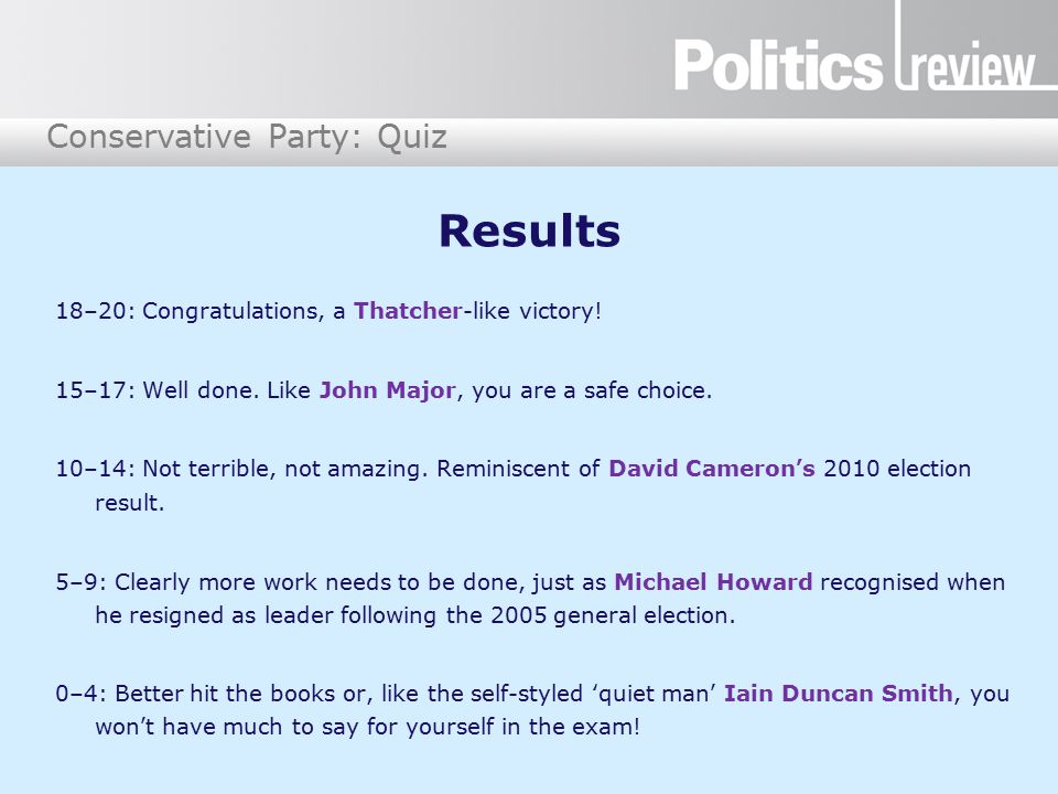 Conservative Party: Quiz Results 18–20: Congratulations, a Thatcher-like victory.