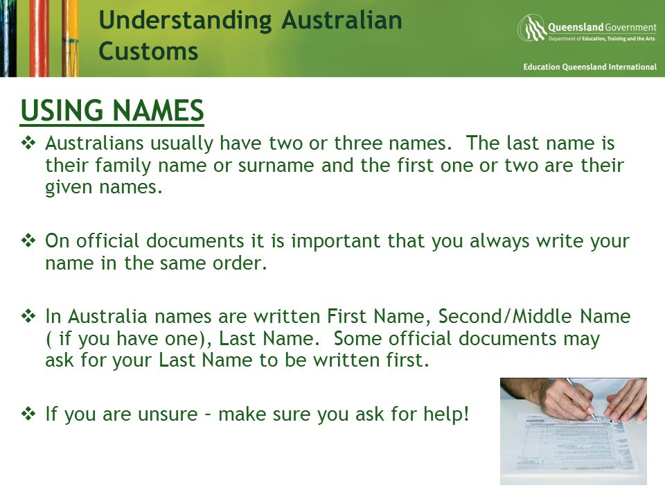 Understanding Australian Customs USING NAMES  Australians usually have two or three names.