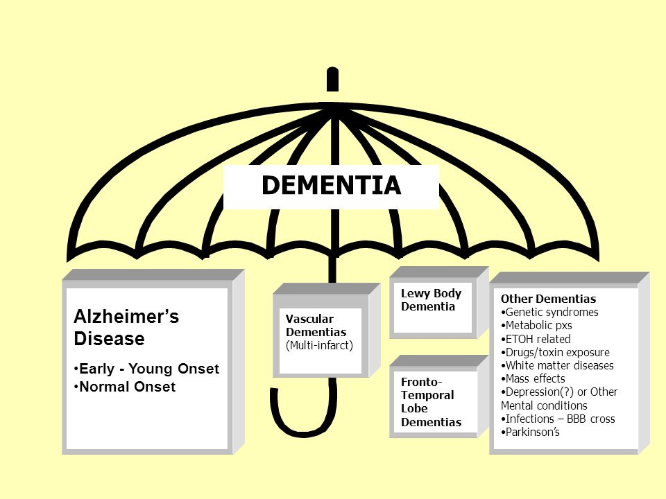 Alzheimer's Disease Early - Young Onset Normal Onset Vascular Dementias (Multi-infarct) Lewy Body Dementia DEMENTIA Other Dementias Genetic syndromes Metabolic pxs ETOH related Drugs/toxin exposure White matter diseases Mass effects Depression(?) or Other Mental conditions Infections – BBB cross Parkinson's Fronto- Temporal Lobe Dementias