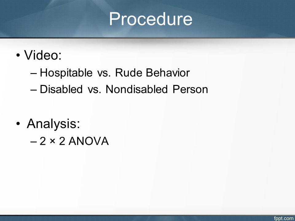 Video: –Hospitable vs. Rude Behavior –Disabled vs.