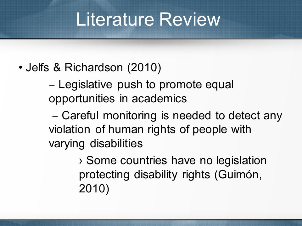 Jelfs & Richardson (2010) ‒ Legislative push to promote equal opportunities in academics ‒ Careful monitoring is needed to detect any violation of hum