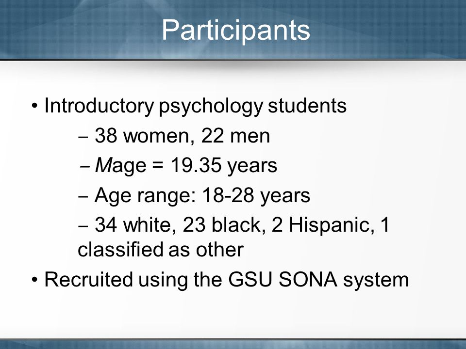 Introductory psychology students ‒ 38 women, 22 men ‒ Mage = 19.35 years ‒ Age range: 18-28 years ‒ 34 white, 23 black, 2 Hispanic, 1 classified as ot