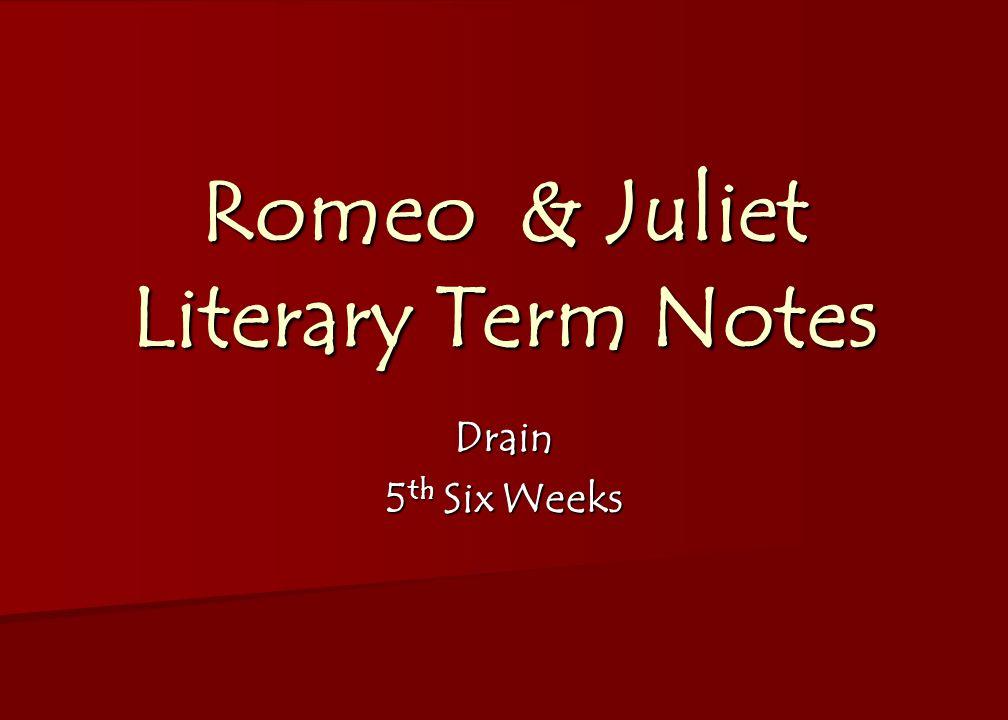 Romeo & Juliet Literary Term Notes Drain 5 th Six Weeks
