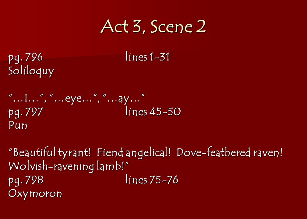 Act 3, Scene 2 pg. 796lines 1-31 Soliloquy …I… , …eye… , …ay… pg.