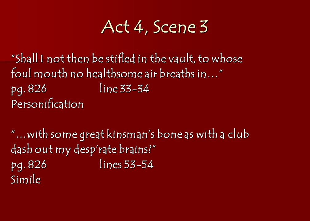 Act 4, Scene 3 Shall I not then be stifled in the vault, to whose foul mouth no healthsome air breaths in… pg.