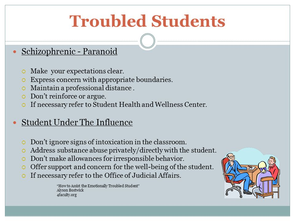 Troubled Students Schizophrenic - Paranoid  Make your expectations clear.