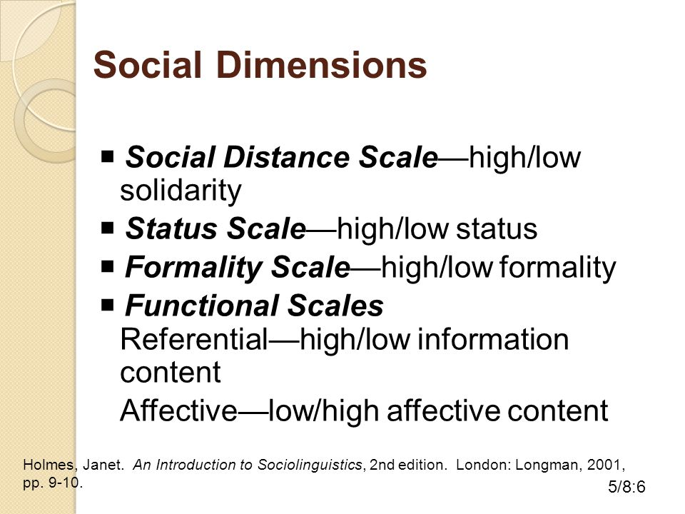 Social Dimensions  Social Distance Scale—high/low solidarity  Status Scale—high/low status  Formality Scale—high/low formality  Functional Scales Referential—high/low information content Affective—low/high affective content Holmes, Janet.