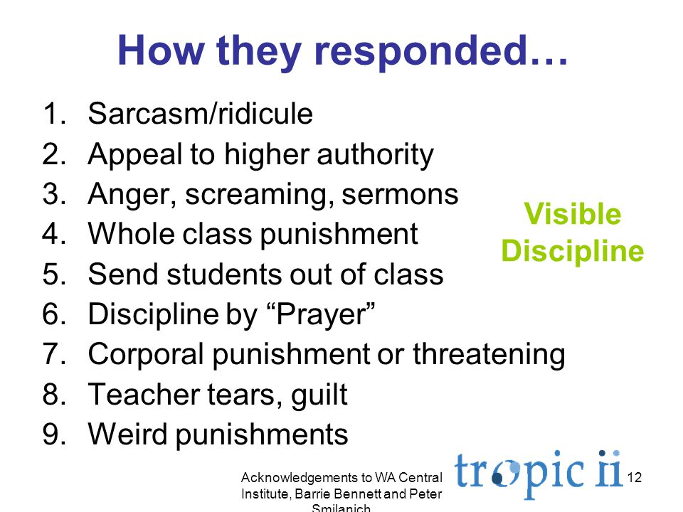 12 How they responded… 1.Sarcasm/ridicule 2.Appeal to higher authority 3.Anger, screaming, sermons 4.Whole class punishment 5.Send students out of class 6.Discipline by Prayer 7.Corporal punishment or threatening 8.Teacher tears, guilt 9.Weird punishments Visible Discipline Acknowledgements to WA Central Institute, Barrie Bennett and Peter Smilanich