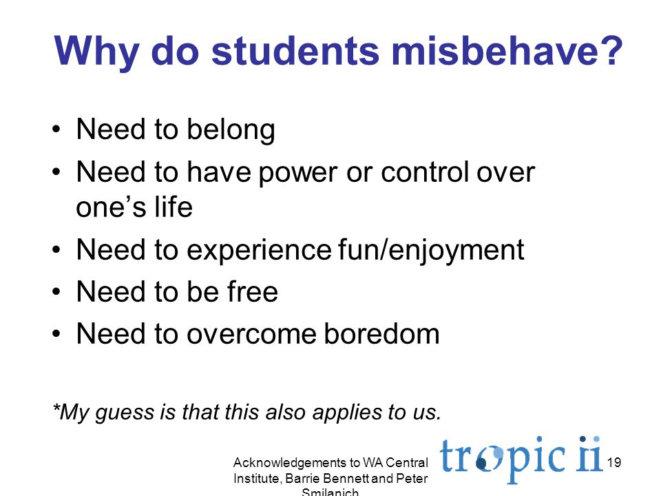 19 Why do students misbehave.