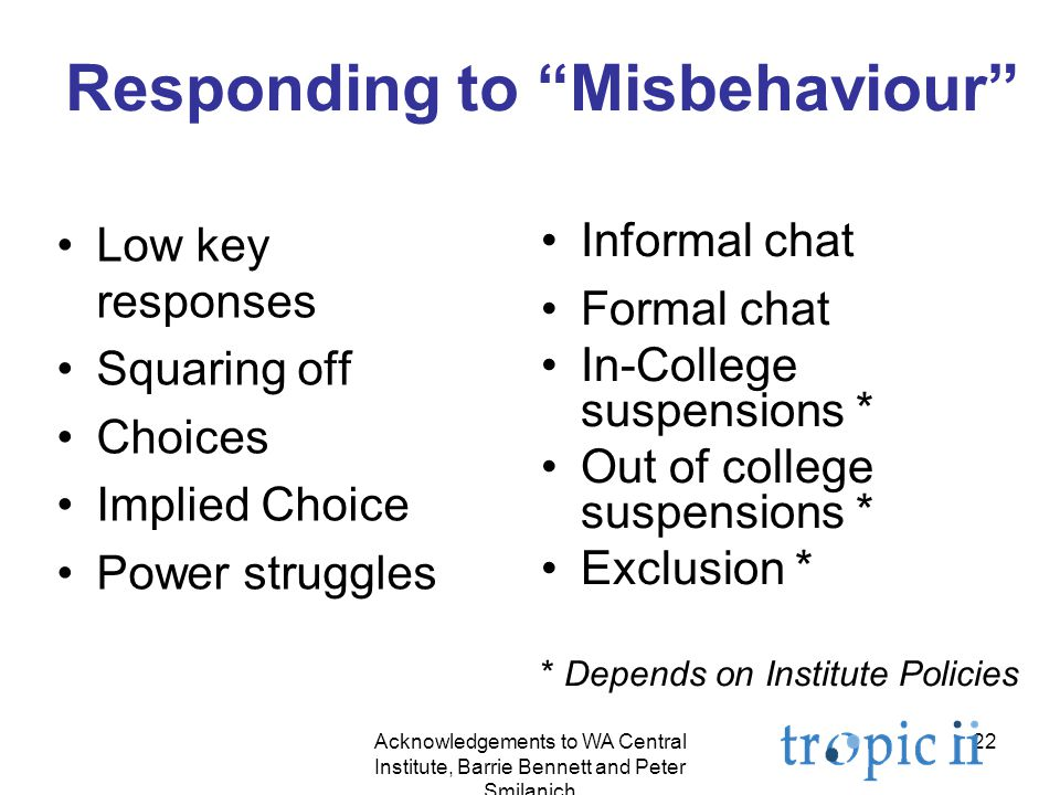 22 Responding to Misbehaviour Low key responses Squaring off Choices Implied Choice Power struggles Informal chat Formal chat In-College suspensions * Out of college suspensions * Exclusion * * Depends on Institute Policies Acknowledgements to WA Central Institute, Barrie Bennett and Peter Smilanich