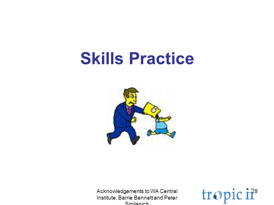 29 Skills Practice Acknowledgements to WA Central Institute, Barrie Bennett and Peter Smilanich