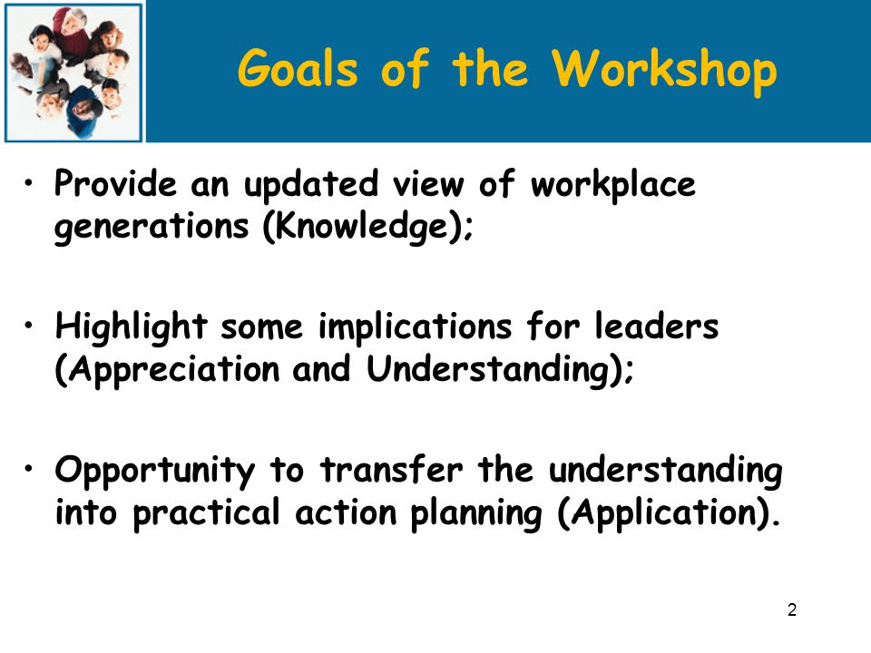 Goals of the Workshop Provide an updated view of workplace generations (Knowledge); Highlight some implications for leaders (Appreciation and Understanding); Opportunity to transfer the understanding into practical action planning (Application).