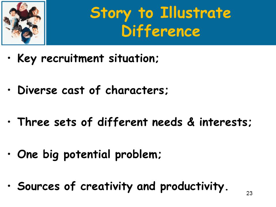 Story to Illustrate Difference Key recruitment situation; Diverse cast of characters; Three sets of different needs & interests; One big potential problem; Sources of creativity and productivity.