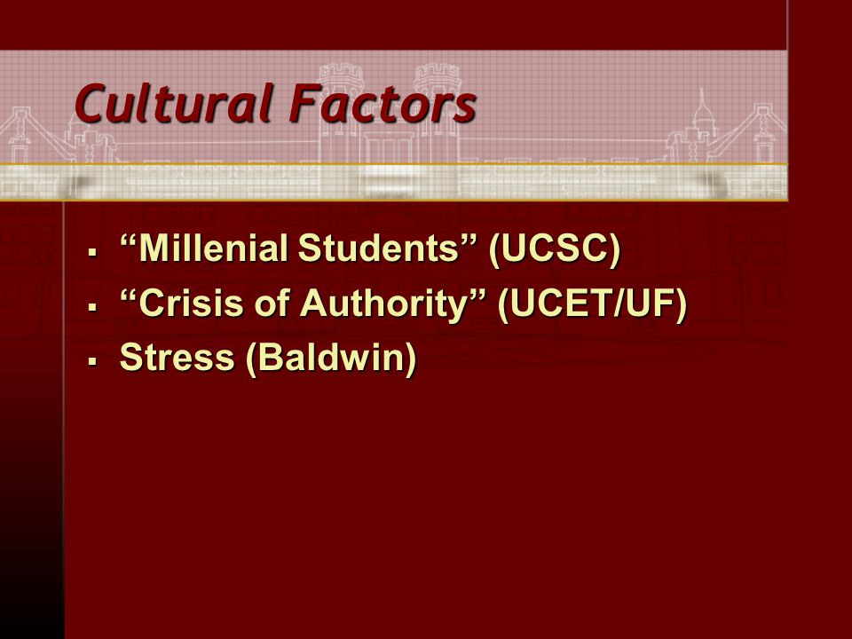 Cultural Factors  Millenial Students (UCSC)  Crisis of Authority (UCET/UF)  Stress (Baldwin)
