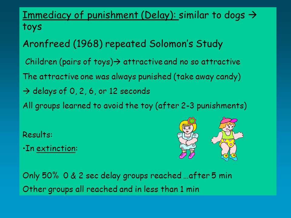 Immediacy of punishment (Delay): similar to dogs  toys Aronfreed (1968) repeated Solomon's Study Children (pairs of toys)  attractive and no so attractive The attractive one was always punished (take away candy)  delays of 0, 2, 6, or 12 seconds All groups learned to avoid the toy (after 2-3 punishments) Results: In extinction: Only 50% 0 & 2 sec delay groups reached …after 5 min Other groups all reached and in less than 1 min