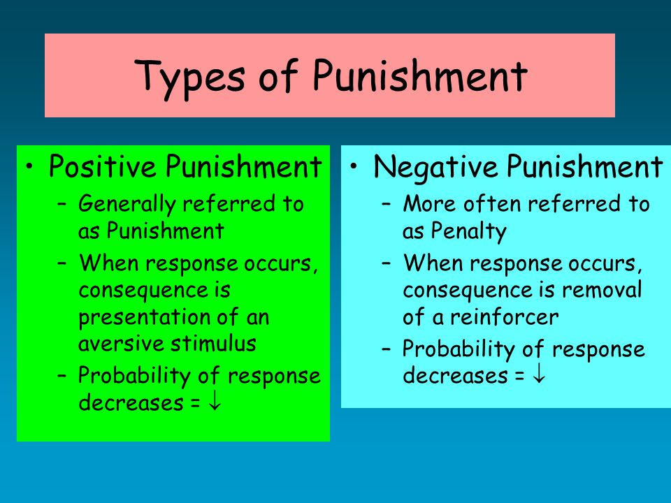 Types of Punishment Positive Punishment –Generally referred to as Punishment –When response occurs, consequence is presentation of an aversive stimulus –Probability of response decreases =  Negative Punishment –More often referred to as Penalty –When response occurs, consequence is removal of a reinforcer –Probability of response decreases = 
