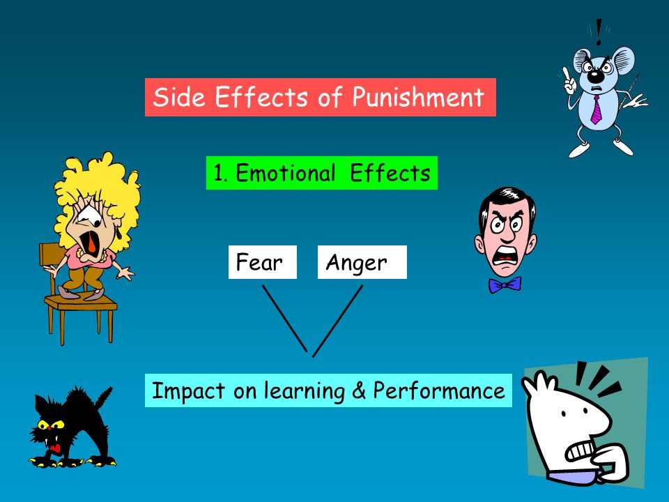 Side Effects of Punishment 1. Emotional Effects FearAnger Impact on learning & Performance