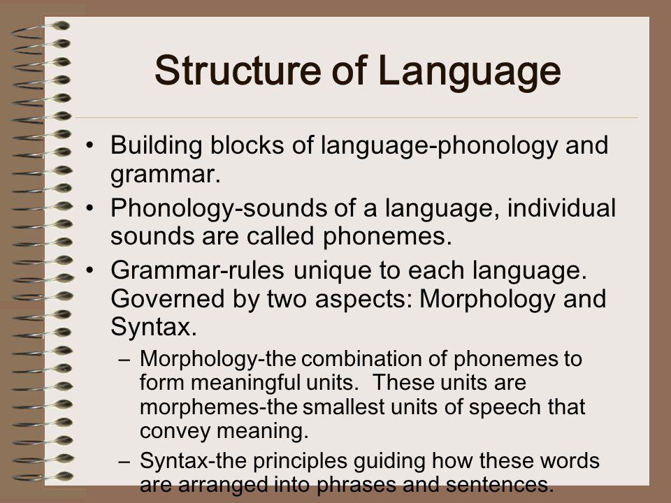 Structure of Language Building blocks of language-phonology and grammar.