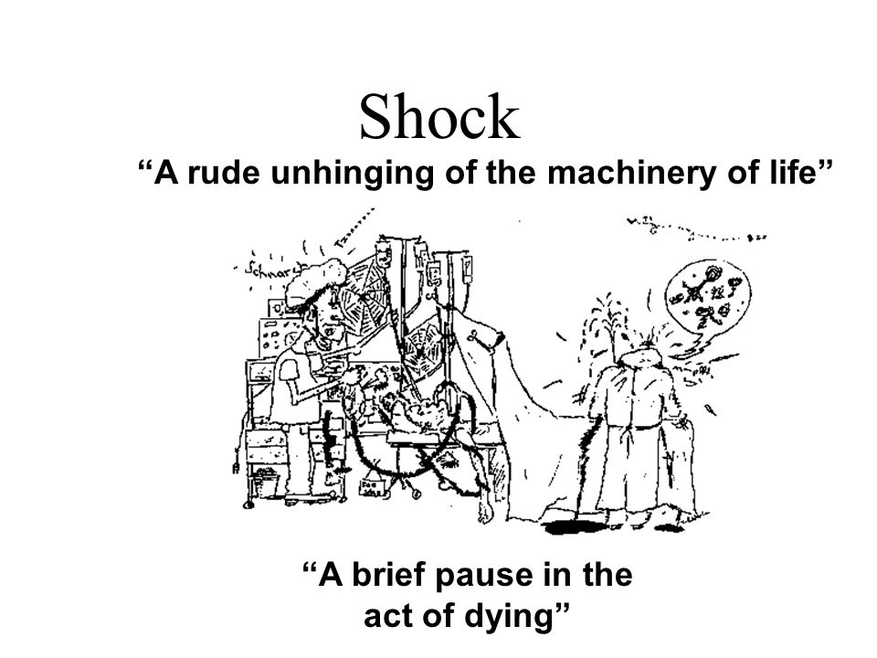 "Shock ""A rude unhinging of the machinery of life"" ""A brief pause in the act of dying"""