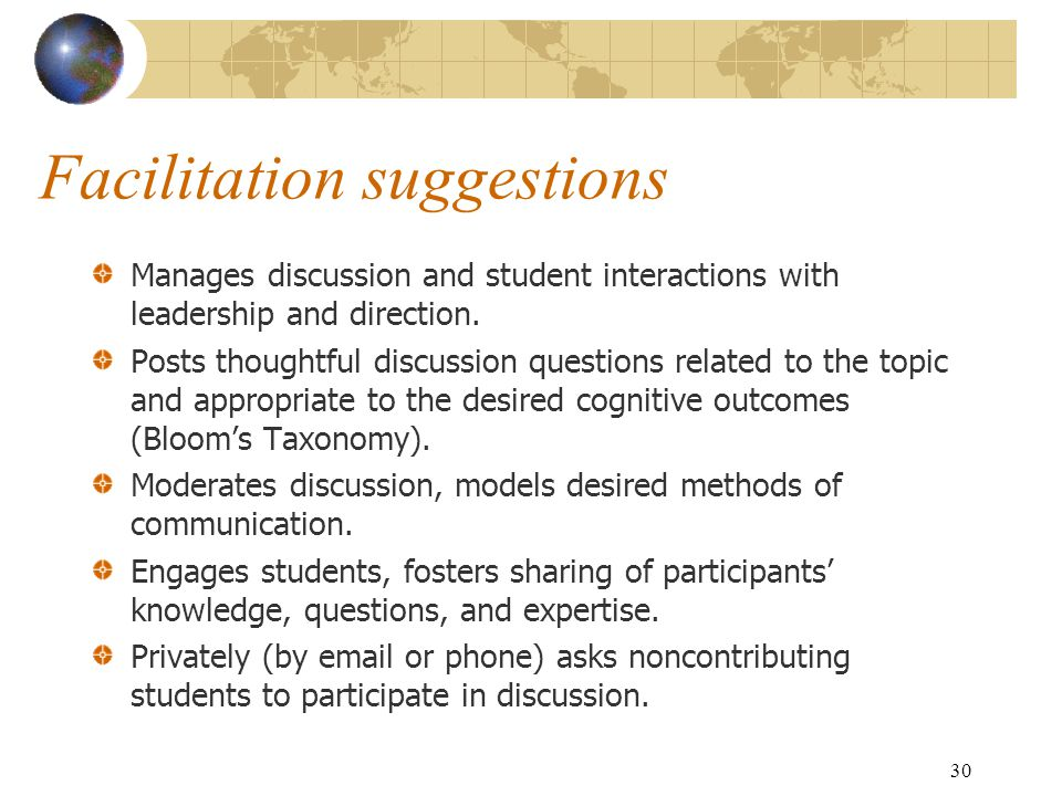 30 Facilitation suggestions Manages discussion and student interactions with leadership and direction.