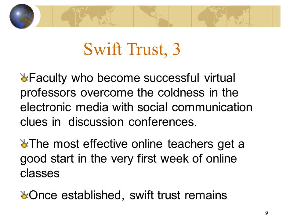 9 Swift Trust, 3 Faculty who become successful virtual professors overcome the coldness in the electronic media with social communication clues in discussion conferences.